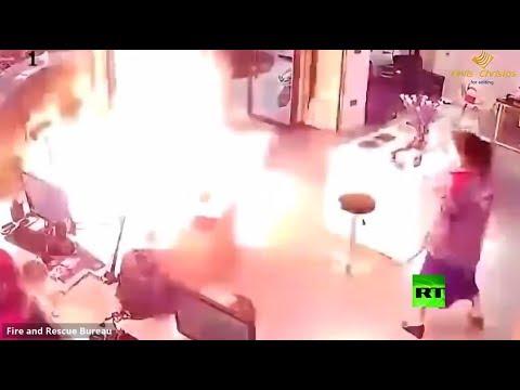 شاهد لحظة انفجار بطارية أثناء شحنها