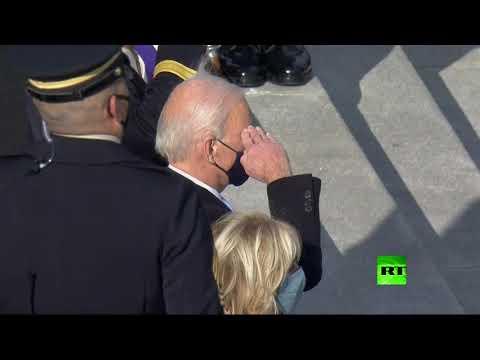 شاهد الرئيس الأميركي جو بايدن يتفقد حرس الشرف