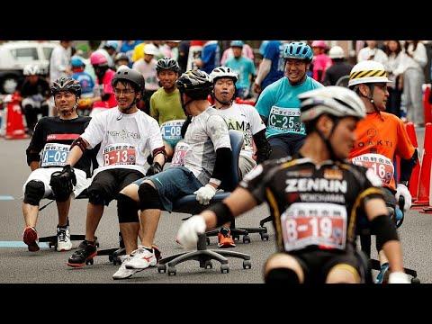شوارع هانيو اليابانية تستقبل الجائزة الكبرى لسباق كرسي المكاتب