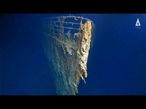 شاهد فيديو مخيف لبقايا سفينة تيتانيك الغارقة في قعر الأطلسي…