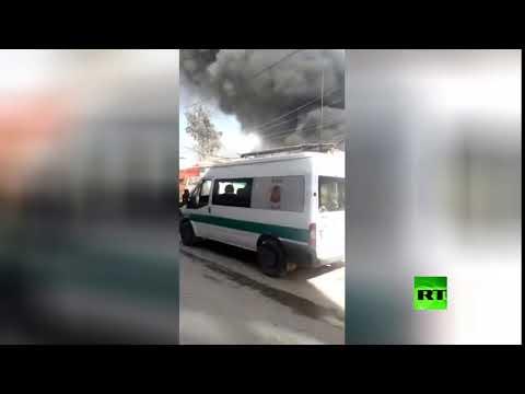 شاهد تفجير سيارة مفخخة في السوق الشعبي بمدينة عفرين