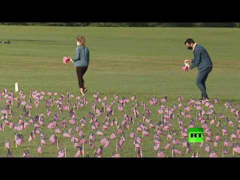 شاهد نشر آلاف الأعلام قرب نصب واشنطن  التذكاري إحياءً لذكرى ضحايا كورونا