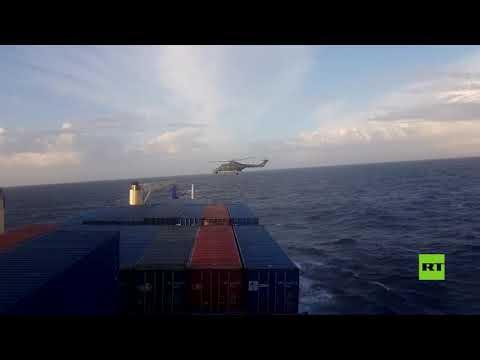 شاخد لحظة اعتراض ومداهمة قوات ألمانية لسفينة تركية في البحر المتوسط