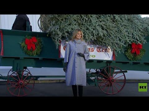 شاهد ميلانيا ترامب تتسلم شجرة عيد الميلاد للاحتفال لآخر مرة في البيت الأبيض